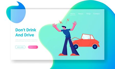 Car Accident on Road, Aggressive Driver Arguing on Roadside at Crashed Automobile. Insurance Situation, City Dweller in Traffic Website Landing Page, Web Page. Cartoon Flat Vector Illustration, Banner Illustration