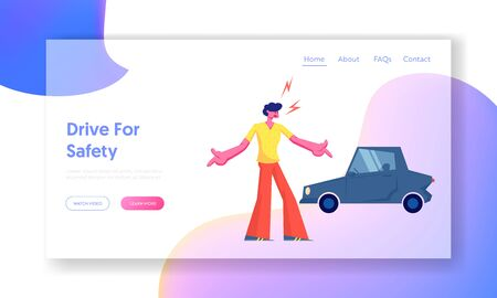 City Traffic Website Landing Page, Car Accident on Road, Stressed Driver Arguing on Roadside at Damaged Automobile. Trouble Situation Transport Injury Web Page Cartoon Flat Vector Illustration, Banner Banque d'images - 128443074