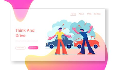 Car Accident on Road, Couple of Drivers Male Character Arguing Standing on Roadside at Crashed Automobiles. Insurance, Traffic, Website Landing Page, Web Page. Cartoon Flat Vector Illustration, Banner Illustration