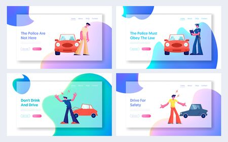 Car Accident on Road Website Landing Page Set, Couple of Drivers Characters Arguing on Roadside at Crashed Automobiles. Insurance, Traffic, Breakdown Web Page. Cartoon Flat Vector Illustration, Banner Illustration