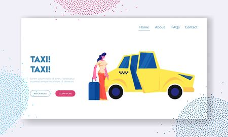 Girl Passenger with Luggage Stand near Yellow Taxi Car. Woman with Suitcase Going to Sit in Cab. City Taxi Order, Destination. Website Landing Page, Web Page. Cartoon Flat Vector Illustration, Banner Illustration