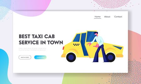 Taxi Driver Open Car Door Inviting Passenger to Sit. Cabbie Character Occupation, Job, Yellow Cab in City, Service, Destination Website Landing Page, Web Page. Cartoon Flat Vector Illustration, Banner