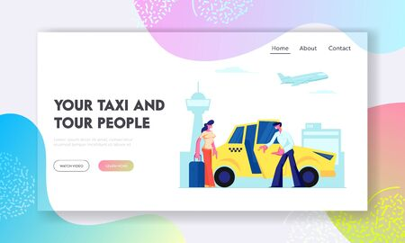 Driver Invite Girl Passenger to Car on Airport Background. Woman with Luggage Going to Sit in Yellow Cab. City Taxi, Destination Website Landing Page, Web Page. Cartoon Flat Vector Illustration Banner Foto de archivo - 126827909