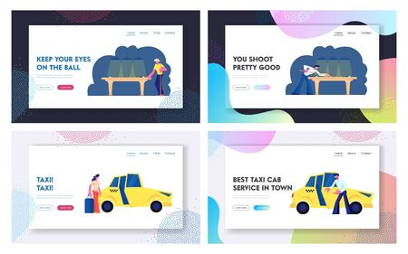 Snooker, Billiard Game, Taxi Service Website Landing Page Set, Men Playing on Green Table in Club, Woman with Luggage Going to Sit in Yellow Cab, Taxi Web Page. Cartoon Flat Vector Illustration Banner Banque d'images - 128443086
