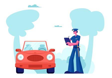 Carattere dell'ufficiale di polizia Stand vicino a Auto Write Fine on Road. Protezione della legge, controllo di sicurezza dell'ispettore del traffico automobilistico, violazione del traffico ad alta velocità, illustrazione vettoriale piatto del fumetto di incidente stradale del poliziotto Vettoriali