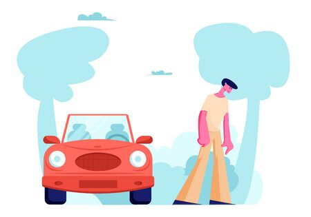 Upset Driver Male Character Stand at Car after Accident or Breakdown. Man on Roadside at Crashed Automobile. Intruder, Safety Control, High Speed Traffic Violation, Cartoon Flat Vector Illustration 写真素材 - 128443095