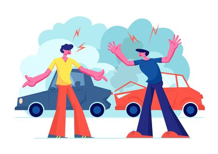 Car Accident on Road, Couple of Drivers Male Character Arguing Standing on Roadside at Crashed Automobiles. Insurance Situation, City Dwellers Suffered in Traffic, Cartoon Flat Vector Illustration Illustration