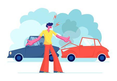Accidente de coche en la carretera, personaje masculino conductor enojado argumentando de pie en la carretera con automóviles estrellados. Situación del seguro, habitante de la ciudad sufre en el tráfico, ilustración de Vector plano de dibujos animados de avería