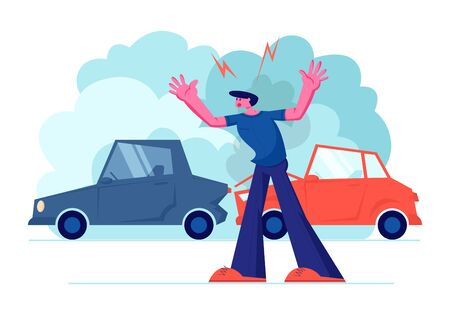 Upset Driver after Car Accident on Road, Stressed Male Character Crying Stand on Roadside at Broken Automobiles. Insurance Situation, City Dweller Suffered in Traffic, Cartoon Flat Vector Illustration Illustration