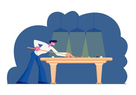 Man Playing Billiard or Snooker Game, Aiming Cue to Ball on Green Cloth Table under Shining Lamps. Tournament or Competition in Club, Weekend Leisure, Hobby Spare Time Cartoon Flat Vector Illustration Archivio Fotografico - 128443103