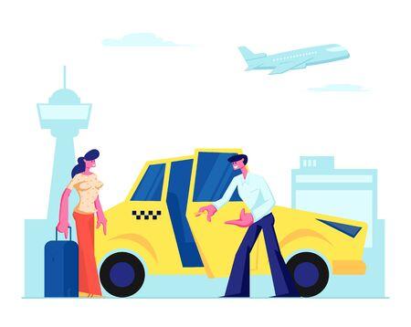 Conductor experimentado invita pasajero chica al coche en el fondo del aeropuerto. Mujer con equipaje va a sentarse en taxi amarillo. Taxi ordenados por caracteres en la ciudad, destino. Ilustración de Vector plano de dibujos animados