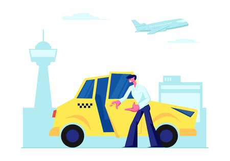 Conductor de taxi experimentado abrir la puerta del coche que invita al pasajero a sentarse en el fondo de la terminal del aeropuerto. Ocupación del personaje de taxista, trabajo, taxi amarillo en la ciudad, destino. Ilustración de Vector plano de dibujos animados Ilustración de vector