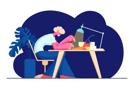 Écrivain assis à table avec lampe brillante, tasse et pile de papier impression sur machine à écrire. Passe-temps créatif, profession, auteur talentueux travaillant sur une nouvelle histoire ou un livre à la maison. Illustration vectorielle plane de dessin animé