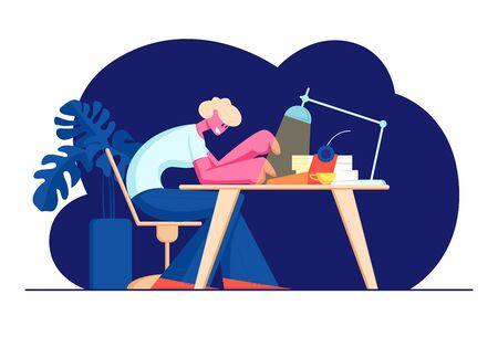 Writer Sitting at Table with Shining Lamp, Cup and Paper Pile Printing on Typewriter. Creative Hobby, Occupation, Talented Author Working on New Story or Book at Home. Cartoon Flat Vector Illustration