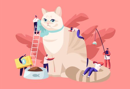 People Spending Time with Pet. Tiny Male and Female Characters on Ladders Caring of Huge Cat, Feed, Play, Dressing. Leisure, Communication, Love, Care of Animals. Cartoon Flat Vector Illustration 일러스트