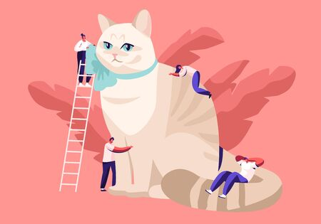 People Caress of Pet. Tiny Male and Female Characters on Ladders Caring of Huge Cat, Feed, Play, Dressing Ribbon on Neck. Leisure, Communication, Love, Care of Animals Cartoon Flat Vector Illustration