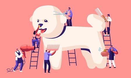 Parrucchiere per animali, Negozio di acconciature e toelettatura, Negozio di animali per cani. Tine caratteri su scale cura del cucciolo carino al salone di toelettatura, tagliare la lana, spazzolare il pettine, profumo, asciugatura del fumetto piatto vettoriale illustrazione Vettoriali