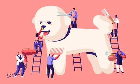 Pet Hair Salon, Styling and Grooming Shop, Pet Store for Dogs. Tine Characters on Ladders Care of Cute Puppy at Groomer Salon, Cut Wool, Brushing Comb, Perfume, Drying Cartoon Flat Vector Illustration