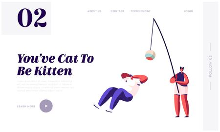 People Spend Time with Pet. Tiny Man Relaxing, Woman Character Holding Huge Cat Toy to Play, Leisure, Love, Care of Animals Website Landing Page, Web Page. Cartoon Flat Vector Illustration, Banner