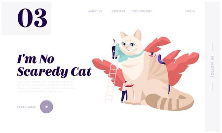 People Caress of Pet Website Landing Page. Tiny Male and Female Characters on Ladders Caring of Huge Cat, Play, Dressing. Love, Care of Animals Web Page. Cartoon Flat Vector Illustration, Banner Illustration