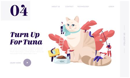 People Spend Time with Pet Website Landing Page. Tiny Characters Caress of Huge Cat, Feed, Play, Dressing. Leisure, Sparetime, Love, Care of Animal Web Page. Cartoon Flat Vector Illustration, Banner