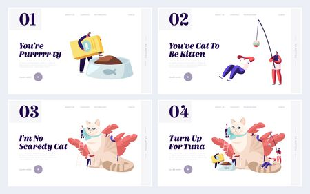 Care of Animals Website Landing Page Set, Tiny Male and Female Characters Caring of Huge Cat, Feed, Play, Dressing Ribbon. People Caress of Pet. Web Page. Cartoon Flat Vector Illustration, Banner