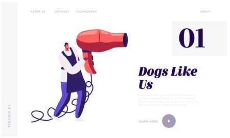 Tiny Character Holding Huge Hair Dryer. Pet Hair Salon Website Landing Page, Styling and Grooming Shop, Care of Domestic Animals, Groomer Fan Drying Web Page. Cartoon Flat Vector Illustration, Banner Illustration