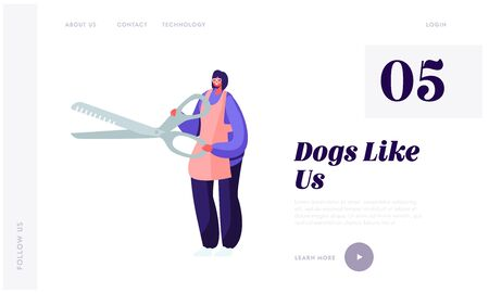 Pet Hair Salon, Styling and Grooming Shop, Store. Tiny Character Groomer in Apron or Stylist with Huge Scissors for Cut Wool, Website Landing Page, Web Page. Cartoon Flat Vector Illustration, Banner Illusztráció