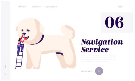 Pet Hair Salon Website Landing Page, Styling and Grooming Shop, Pet Store for Dogs. Tiny Character on Ladder Care of Cute Puppy at Groomer Salon , Web Page. Cartoon Flat Vector Illustration, Banner