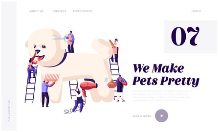 Pet Hair Salon Website Landing Page, Styling and Grooming Shop, Tiny Characters on Ladders Care of Poodle Puppy, Cut and Drying Wool, Comb, Perfume, Web Page. Cartoon Flat Vector Illustration, Banner