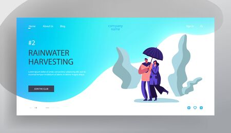 Happy Loving Couple Holding Hands Walking in Park in Rainy Weather under Umbrella, Speaking, Relaxing, Enjoying Relations, Love Website Landing Page, Web Page. Cartoon Flat Vector Illustration, Banner