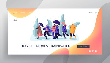Wet Rainy Autumn or Spring Weather Website Landing Page, Happy Drenched Passerby People Wearing Boots and Cloaks with Umbrellas Walking in Rain, Web Page. Cartoon Flat Vector Illustration, Banner