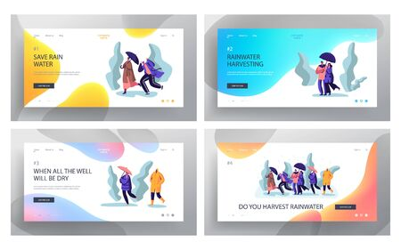 Wet Rainy Autumn or Spring Weather Website Landing Page Set, Drenched People Wear Cloaks and Boots with Umbrellas Walking in Rain, Outdoors Promenade Web Page. Cartoon Flat Vector Illustration, Banner