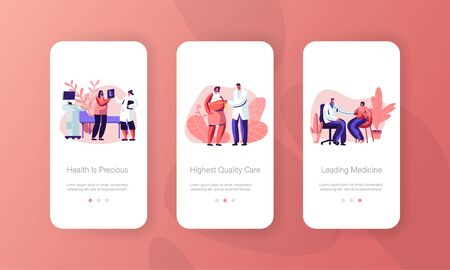 Medical Check Up, Healthy Pregnancy Mobile App Page Onboard Screen Set, Pregnant Woman at Doctor Appointment Ultrasound, Health Care, Concept for Website or Web Page, Cartoon Flat Vector Illustration