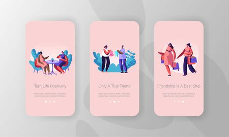 Pregnant Women Meeting Mobile App Page Onboard Screen Set, Girls Characters Pregnancy, Meet in Cafe, Shopping, Buying Baby Clothes, Concept for Website or Web Page, Cartoon Flat Vector Illustration