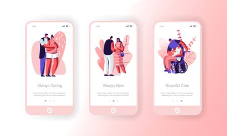 Happy Couples Waiting Baby Mobile App Page Onboard Screen Set. Healthy and Disabled Pregnant Women with Husbands. Motherhood, Maternity Concept for Website or Web Page Cartoon Flat Vector Illustration