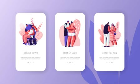 Maternity, Family Relations Mobile App Page Onboard Screen Set Happy Couples Waiting Baby Concept. Pregnant Women with Husbands, Motherhood Website or Web Page, Cartoon Flat Vector Illustration