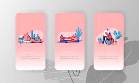Happy Couples Waiting Baby Exercising in Gym, Mobile App Page Onboard Screen Set, Pregnant Women Fitness Sports Activity Yoga, Fitball Concept for Website or Web Page, Cartoon Flat Vector Illustration Ilustração