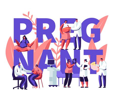Pregnant Woman at Doctor Appointment in Clinic Concept. Medical Check Up, Healthy Pregnancy, Health Care, Ultrasound, Maternity. Poster, Banner, Flyer, Brochure. Cartoon Flat Vector Illustration