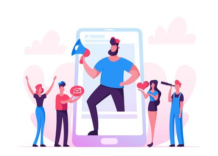 Blogging, Social Media Networking Concept. Huge Man with Megaphone Stand at Smartphone Screen, People Watching Broadcasting, Streaming Video Post, Blogger Character. Cartoon Flat Vector Illustration
