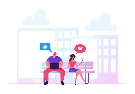 Young Man and Woman Sitting on Bench in Park with Laptop and Smartphone in Hands and Communicating Online in Internet. Social Media Like, Heart Icons. Networking, Cartoon Flat Vector Illustration. Ilustração