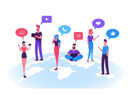 Young People Characters Chatting in Social Networks. Man and Woman Communicating Online with Mobile Devices, Tablet, Laptop, Smartphones. Social Media Icons Around. Cartoon Flat Vector Illustration