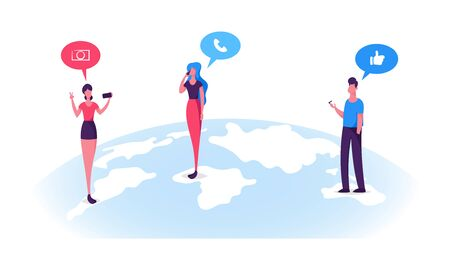 Young People Characters Stand on Earth Globe Surface Chatting in Social Networks, Calling, Making Photo on Smartphones. Man and Woman Communicating Online Social Media Cartoon Flat Vector Illustration Stok Fotoğraf - 126827966