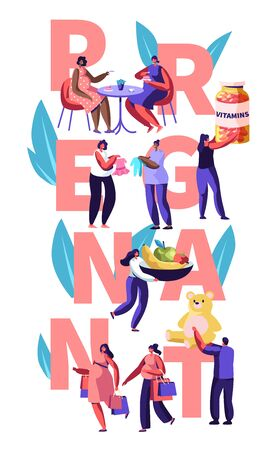 Female Characters Happy Pregnancy Concept. People Hold Vitamins, Baby Toys, Healthy Nutrition, Pregnant Women Meet in Cafe, Shopping. Poster, Banner, Flyer, Brochure. Cartoon Flat Vector Illustration
