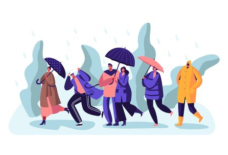 Happy Drenched Passerby People Wearing Boots and Cloaks with Umbrellas Walking Against Wind and Rain , Cold Water Pour From Sky, Wet Rainy Autumn or Spring Weather. Cartoon Flat Vector Illustration