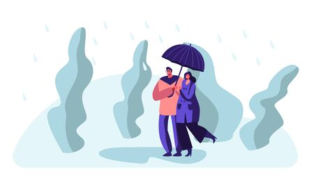 Happy Loving Couple Holding Hands Walking in Park in Rainy Weather under Umbrella, Speaking, Enjoying Relations, Love. Pair Characters Spend Time on Nature, Relaxing Cartoon Flat Vector Illustration Illustration