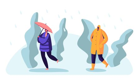 Passerby at Wet Rainy Autumn or Spring Weather. Happy Drenched People Wearing Boots and Cloaks with Umbrellas Walking Against Wind and Rain, Cold Water Pour from Sky Cartoon Flat Vector Illustration Ilustração