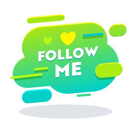 Sígueme Banner en estilo Memphis con tipografía, corazón, botón de color verde, notificación de contador, redes sociales, imagen, símbolo, letrero, fondo de interfaz de usuario, etiqueta de cuenta. Ilustración de Vector plano de dibujos animados