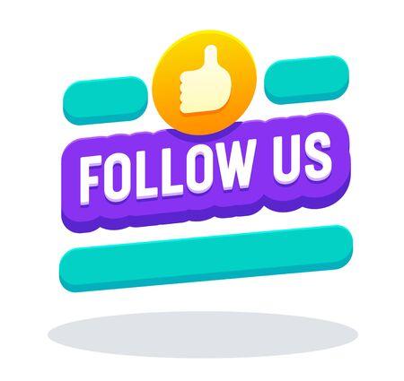 Síguenos Banner en estilo Memphis con tipografía, pulgar hacia arriba, botón, notificación de contador, redes sociales, imagen, símbolo, letrero, fondo de interfaz de usuario, etiqueta de cuenta. Ilustración de Vector plano de dibujos animados