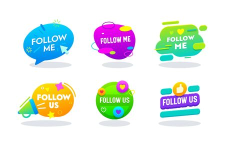 Follow Me and Follow Us Banners Set, Social Media Networks Logo in Colorful Memphis Style with Typography. Button, Counter Notification, Image, Symbol, Sign, Ui. Cartoon Flat Vector Illustration Vettoriali